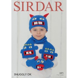 S2471 Gloves, Scarf and Hat for Children in Sirdar Snuggly DK