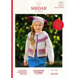 S2514 Girl's Fair Ilse Cardigan & Matching Hat in Sirdar Country Classic