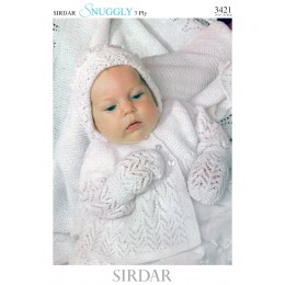 S3421 Matinee Coat, Bonnet and Booties in Sirdar Snuggly 3ply