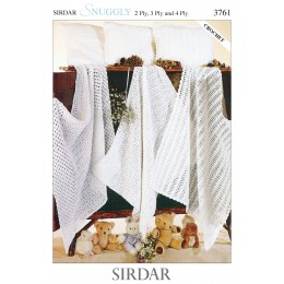 S3761 Blankets and Pillows In Sirdar Snuggly 2ply, 3 ply and 4ply