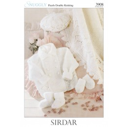S3908 Blanket, Coat, Beret, Mittens and Booties in Sirdar Snuggly Pearls DK