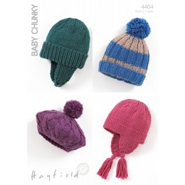S4404 Four Hat Designs in Hayfield Baby Chunky