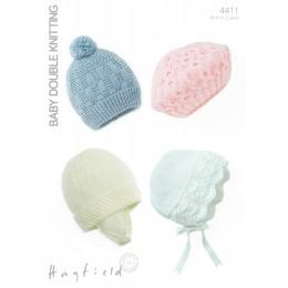 S4411 Four Hat Designes in Hayfield Baby DK