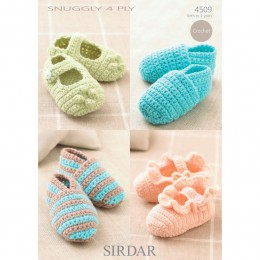S4509 Crochet Booties for Babies in Sirdar Snuggly 4ply