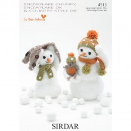 S4513 Snowman Family Toys in Sirdar Snowflake Chunky, DK and Country Style DK