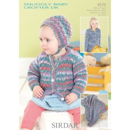 S4570 Blanket, Hat and Cardigan for Little Ones in Sirdar Snuggly Baby Crofter DK