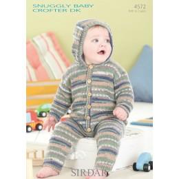 S4572 Onesie for Babies in Sirdar Snuggly Baby Crofter DK