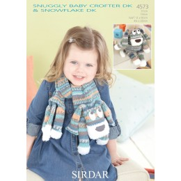 S4573 Scarf and Dog Toys for Little Ones in Sirdar Snuggly Baby Crofter and Snowflake DK