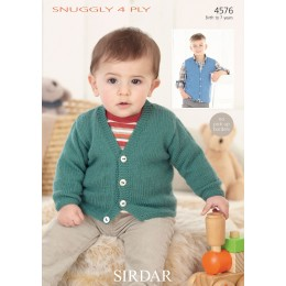 S4576 Cardigan and Waistcoat for Little ones in Sirdar Snuggly 4ply
