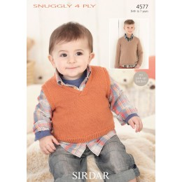 S4577 Sweater and Tank for Little Ones in Sirdar Snuggly 4ply
