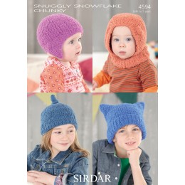 S4594 Four Hat Designs for Little Ones in Sirdar Snuggly Snowflake Chunky