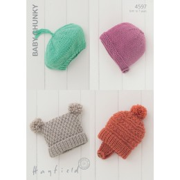 S4597 Four Hat Designs for Little Ones in Hayfield Baby Chunky