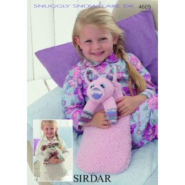 S4609 Monkey and Pig Hot Water Bottle Covers in Sirdar Snowflake DK