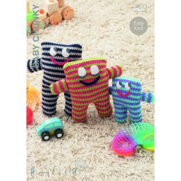 S4613 Stripey Monster Toys in Hayfield Baby Chunky