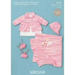 S4616 Jacket, Hat, Booties and Blanket for Babies in Sirdar Baby Crofter 4ply