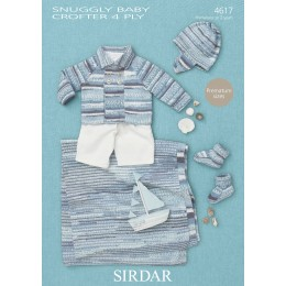 S4617 Jacket, Hat, Booties and Blanket for Babies in Sirdar Baby Crofter 4ply