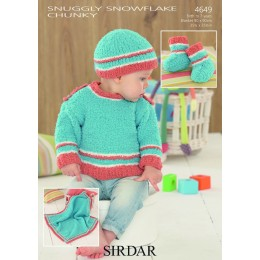 S4649 Jumper, Hat, Booties and Blanket in Sirdar Snowflake Chunky