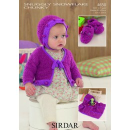 S4650 Cardigan, Hat, Booties and Blanket in Sirdar Snowflake Chunky