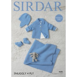 S4686 Blanket, Bootees, Helmet and Jacket for Little Ones in Sirdar Snuggly 4 Ply