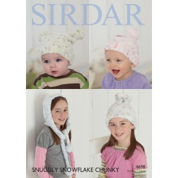 S4698 Hood, Pull on gateRed hat and Pull on hat for Little Ones in Sirdar Snuggly Snowflake Chunky