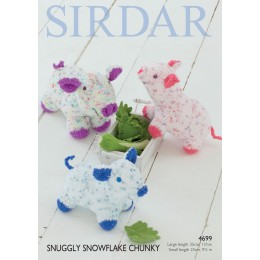 S4699 Pigs, Toy in Sirdar Snuggly Snowflake Chunky