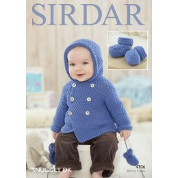 S4706 Bootees, Coat and Mittens for Babies in Sirdar Snuggly DK