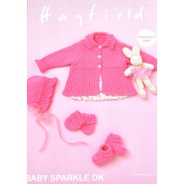 S4719 Bonnet, Bootees, Mittens and a Cardigan for Babies in Hayfield Baby Sparkle DK