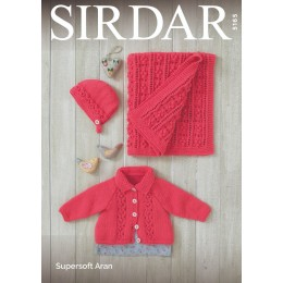 S5165 Baby Girl's Jacket, Bonnet & Blanket in Sirdar Supersoft Aran