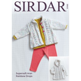 S5182 Matinee Coats in Sirdar Supersoft Aran Rainbow Drops
