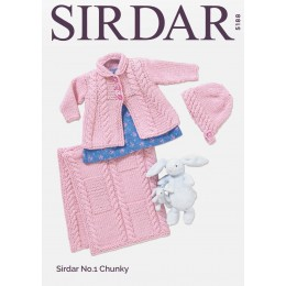 S5188 Baby Girl's Matinee Coat, Bonnet & Blanket in Sirdar No.1 Chunky
