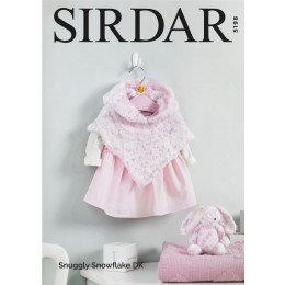 S5198 Baby Girl's Hooded Poncho and Bunny Toy in Sirdar Snuggly Snowflake DK