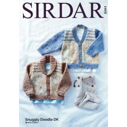 S5283 Children's Shawl Collar Cardigan and V Neck Cardigan in Sirdar Snuggly Doodle DK