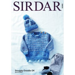 S5285 Children's Round Neck Sweater with Matching Hat in Sirdar Snuggly Doodle DK