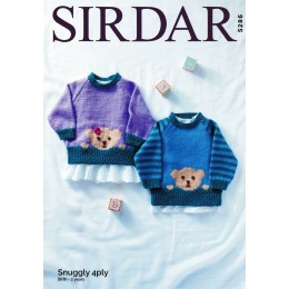 S5286 Children's Round Neck Sweater with Bear Motif in Sirdar Snuggly 4Ply