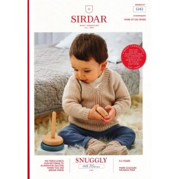 S5302 V Neck Sweater with Patterned Centre Panel and Booties in Sirdar Snuggly 100% Merino 4ply