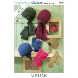 S5840 Hats, Helmet, Mitts, Gloves and Fingerless Gloves in Sirdar Country Style DK