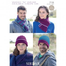 S7116 Harts, Scarfs for Women and Men in Sirdar Wash'n'Wear Double Crepe