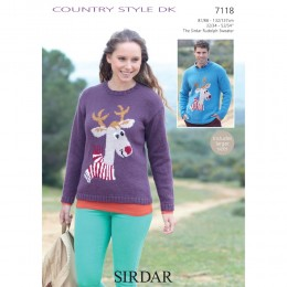 S7118 Reindeer Sweater for Men and Women in Sirdar Country Style DK