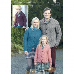 S7143 Cardigans for Men, Women and Children in Hayfield Bonus Aran with Wool