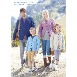 S7247 Cardigans for Men, Women and Children in Hayfield Bonus Aran Tweed