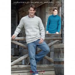 S7251 Sweater for Men in Hayfield Bonus Aran with Wool