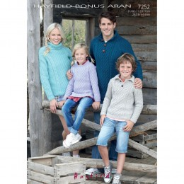 S7252 Sweater for Men, Women and Children in Hayfield Bonus Aran with Wool