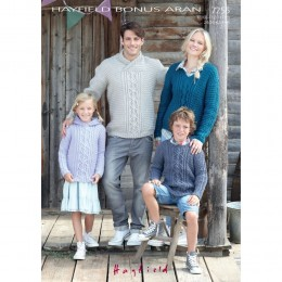 S7255 Sweater for Men, Women and Children in Hayfield Bonus Aran with Wool