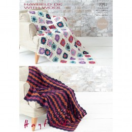 S7257 Crochet blankets with Hayfiled Double Knitting with Wool