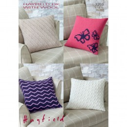 S7259 Cushion Covers in Hayfield Double Knitting with Wool