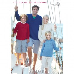 S7272 Sweater for Men, Women and Children in Sirdar Cotton Rich Aran
