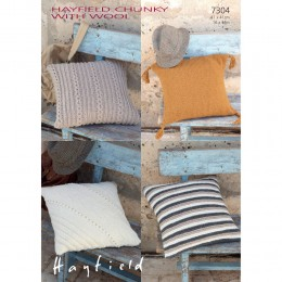 S7304 Cushion Covers in Hayfield Chunky with Wool