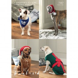 S7367 Christmas Hat, Neckachief, Hat and Pressie Coat for Dogs in Hayfield Double Knitting with Wool