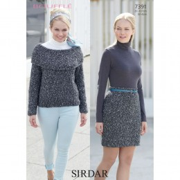 S7391 Skirt and Sweater for Women in Sirdar Bouffle