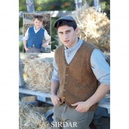 S7394 Men and Boys Waistcoat in Sirdar Harrap Tweed DK